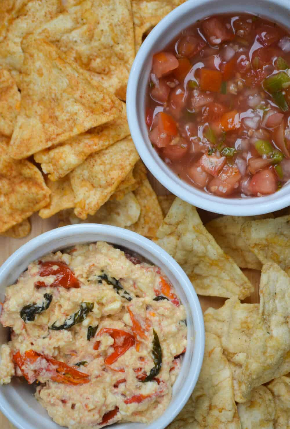 Warm Feta Dip with Chickpea Chips